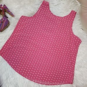 Time and Tru Pink Polkadot Tank Top 2XX